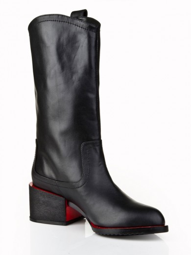 Boots Black Thick Heel Cattlehide Leather
