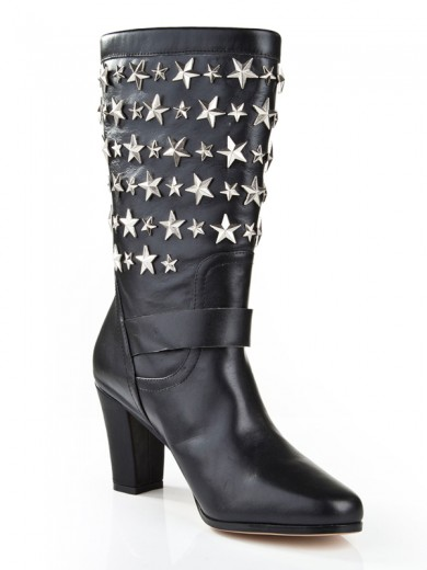 Black Cattlehide Leather Boots