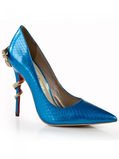 Snake Print Patent Leather Pointed Toe High Heels