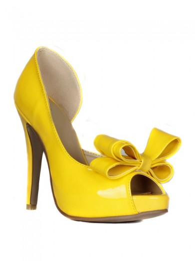 Patent Leather Bowknot Leatherette High Heels