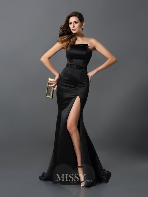 Sheath/Column Strapless Sleeveless Sash/Ribbon/Belt Satin Floor-Length Dresses