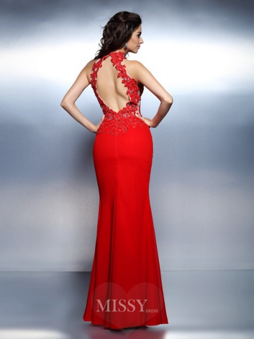 Trumpet/Mermaid Sleeveless High Neck Beading Floor-Length Satin Dresses