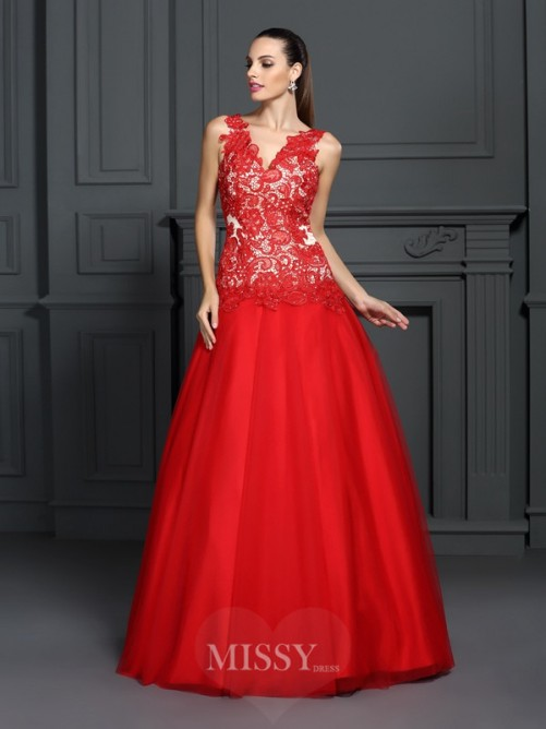 Ball Gown Sleeveless V-neck Lace Floor-Length Lace Dresses