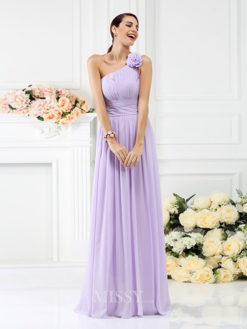 A-Line/Princess Sleeveless One-Shoulder Pleats Hand-Made Flower Floor-Length Chiffon Bridesmaid Dresses