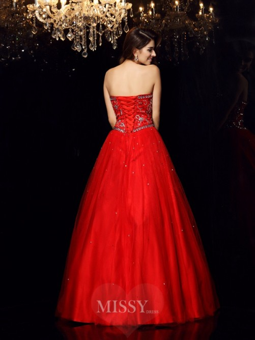 Ball Gown Sleeveless Sweetheart Satin Floor-Length Beading Dresses