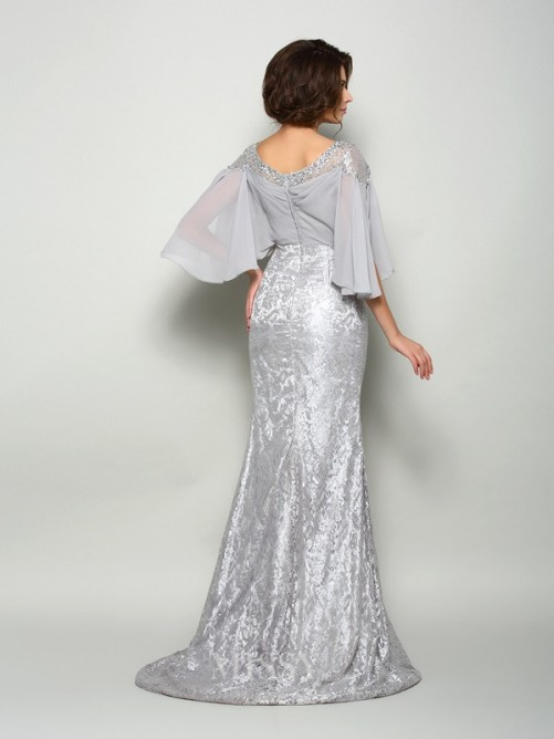 Trumpet/Mermaid Scoop 1/2 Sleeves Lace Chiffon Sweep/Brush Train Mother of the Bride Dress