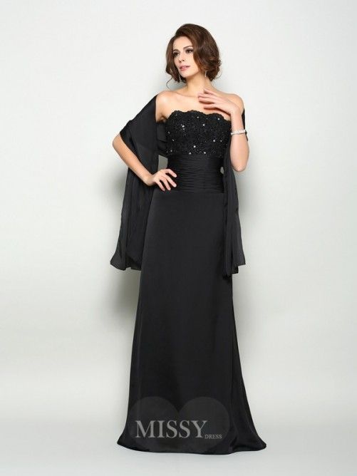 A-Line/Princess Sleeveless Strapless Beading Sweep/Brush Train Chiffon Mother of the Bride Dress