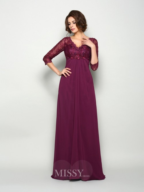 A-Line/Princess 3/4 Sleeves V-neck Sweep/Brush Train Chiffon Beading Mother of the Bride Dress