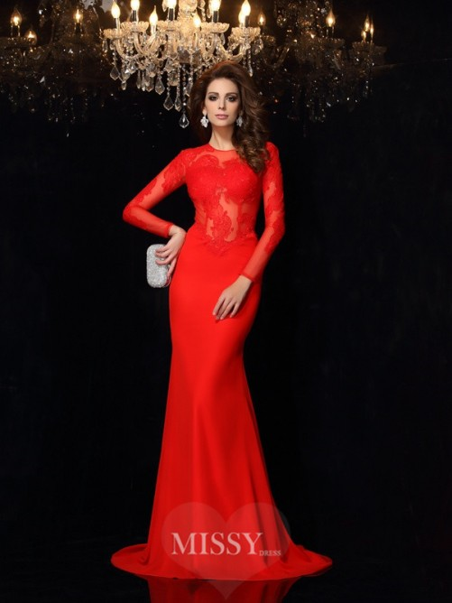 Sheath/Column Scoop Long Sleeves Lace Chiffon Court Train Dresses