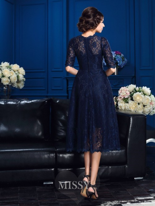 A-Line/Princess Jewel 1/2 Sleeves Knee-Length Lace Mother Of The Bride Dresses