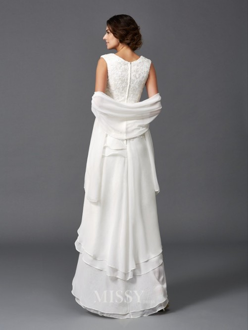 A-Line/Princess Sleeveless Scoop Lace Asymmetrical Chiffon Mother of the Bride Dresses