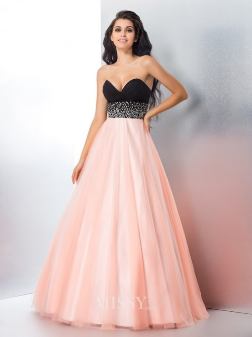 Ball Gown Sleeveless Sweetheart Beading Satin Floor-Length Gown