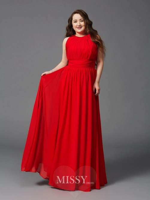 A-Line/Princess Jewel Sleeveless Ruched Floor-Length Chiffon Plus Size Dresses