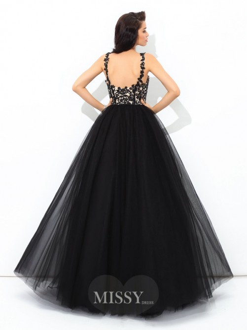 Ball Gown Sleeveless Straps Applique Floor-Length Net Quinceanera Dress
