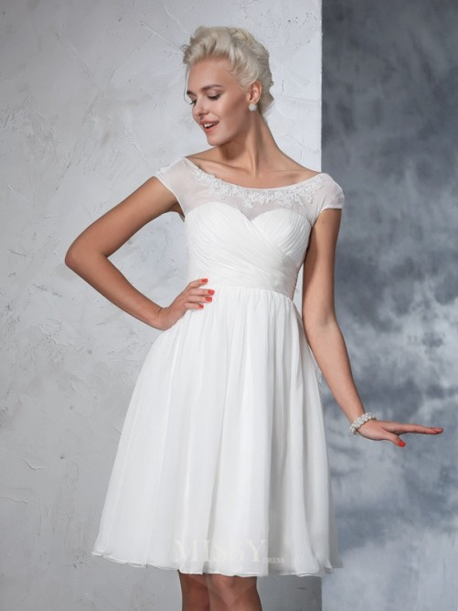 A-Line/Princess Short Sleeves Sheer Neck Chiffon Knee-Length Ruched Wedding Dresses
