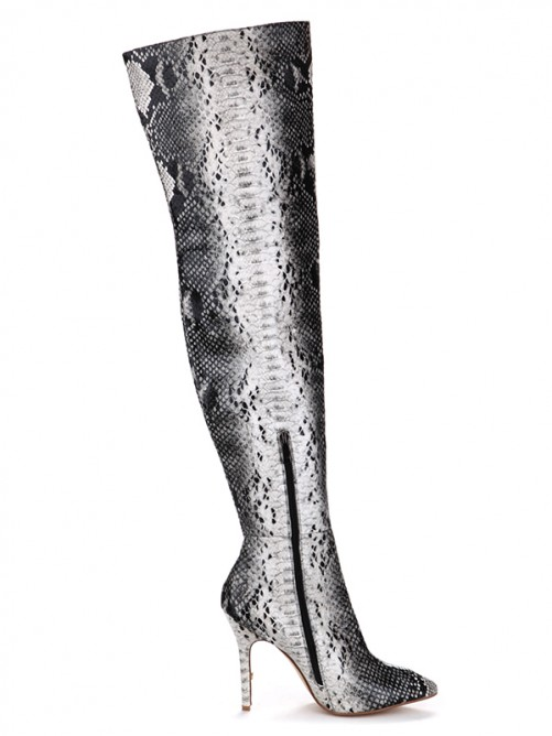 Snake Print Zipper Leather Pointed Toe Boots
