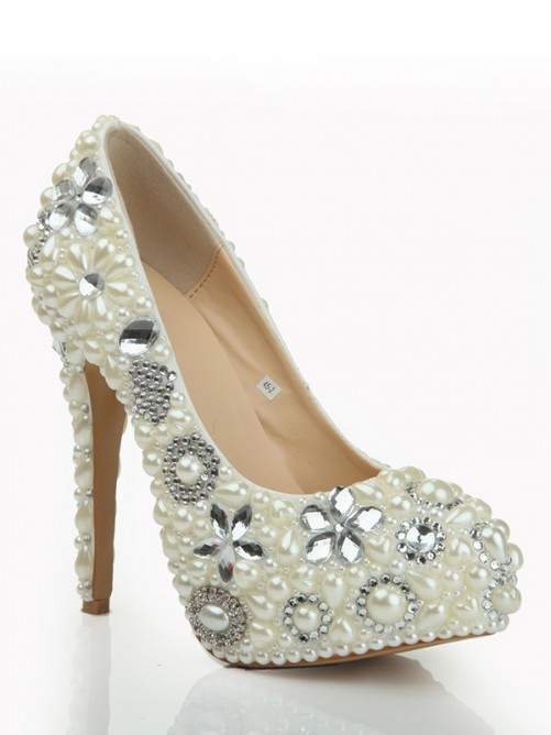 Patent Leather Pearls High Heels