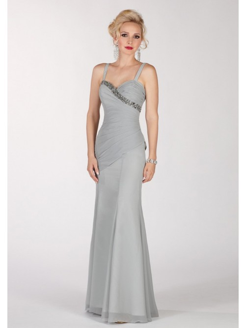 Sheath Sweetheart Floor-Length Chifon Sexy Mother Of The Bride Dress/Prom Dress With Pleats Beading