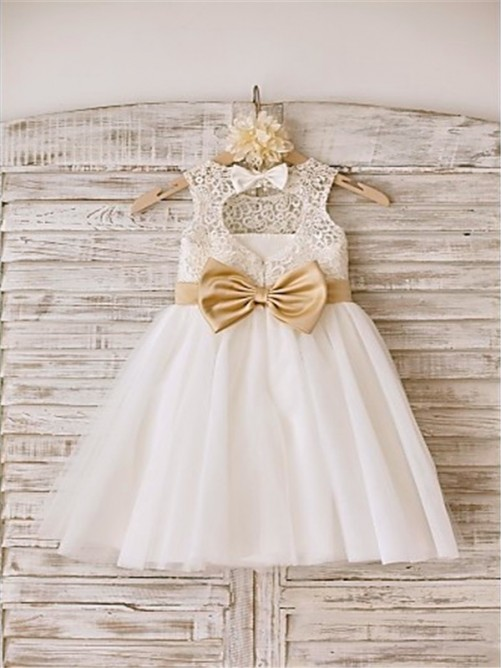 A-line/Princess Sleeveless Bowknot Scoop Knee-Length Tulle Flower Girl Dresses