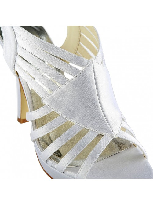 Gorgeous Satin Stiletto Heel Sandals With Buckle Wedding Shoes