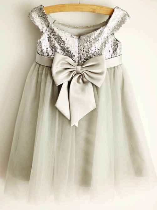 A-Line/Princess Tulle Bowknot Sleeveless Scoop Knee-Length Flower Girl Dresses
