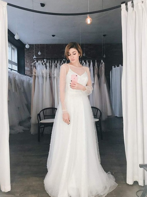 A-Line/Princess Tulle Beading Scoop Long Sleeves Sweep/Brush Train Wedding Dress