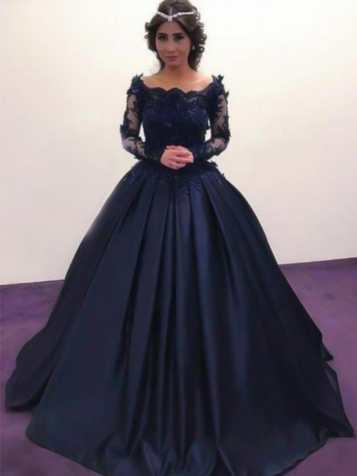 Ball Gown Sweep/Brush Train Long Sleeves Applique Satin Dresses