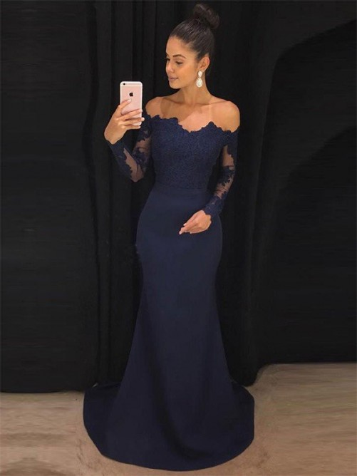 Trumpet/Mermaid Off-the-Shoulder Sweep/Brush Train Long Sleeves Lace Satin Dresses