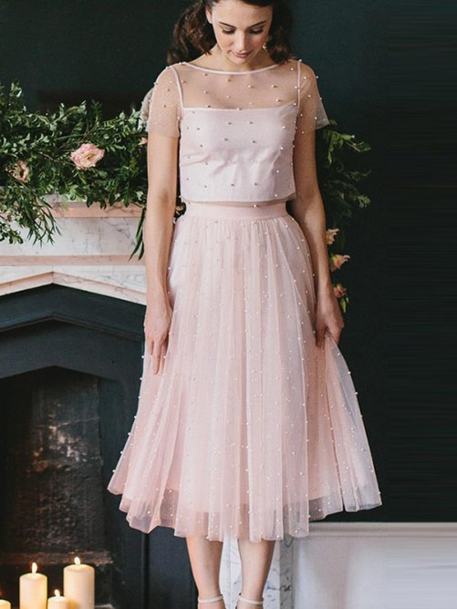 A-Line/Princess Scoop Tulle Short Sleeves Tea-Length Two Piece Dresses