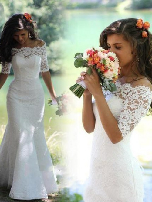 Trumpet Off-the-Shoulder 1/2 Sleeves Lace Sweep/Brush Train Wedding Gowns