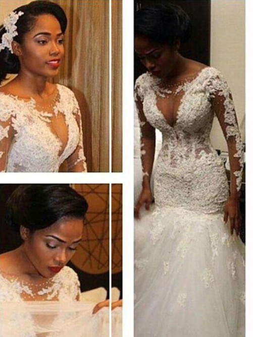 Trumpet V-neck Long Sleeves Lace Floor-Length Tulle Wedding Gown