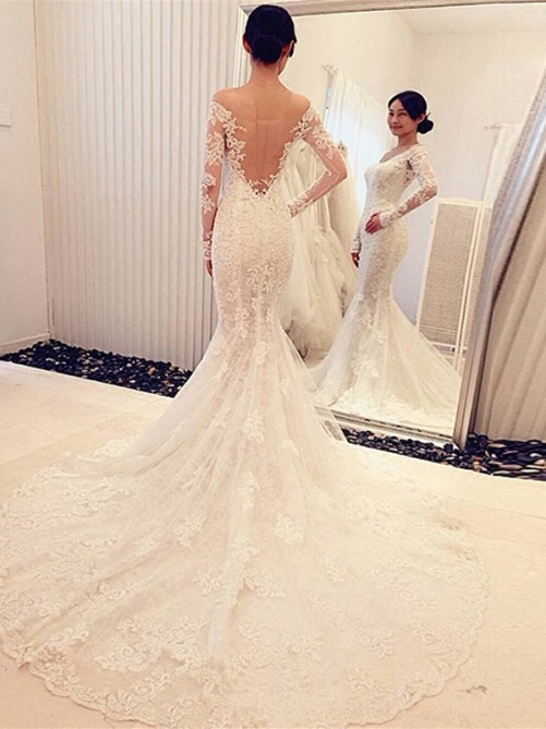 Trumpet Off-the-Shoulder Long Sleeves Lace Chapel Train Bridal Gowns