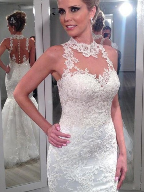 Trumpet High Neck Sleeveless Lace Floor-Length Tulle Bridal Gowns