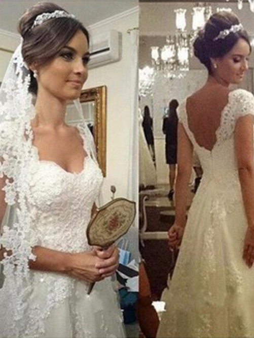 Princess Sweetheart Sweep/Brush Train Sleeveless Lace Tulle Bridal Gowns