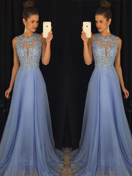A-line / Princess Neckline Sleeveless Sweep/Brush train Applique Chiffon Dresses