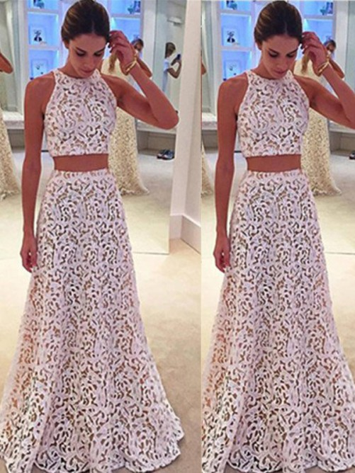 A-Line Scoop Sleeveless Floor-Length Lace Dresses