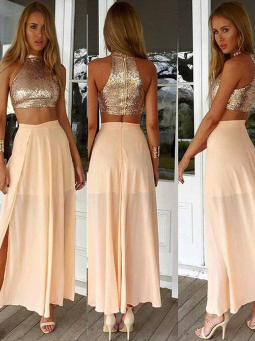A-Line High Neck Sleeveless Sequin Chiffon Ankle-Length Dresses