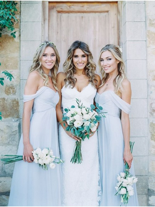 A-Line/Princess Off-the-Shoulder Sleeveless Chiffon Bridesmaid Dresses