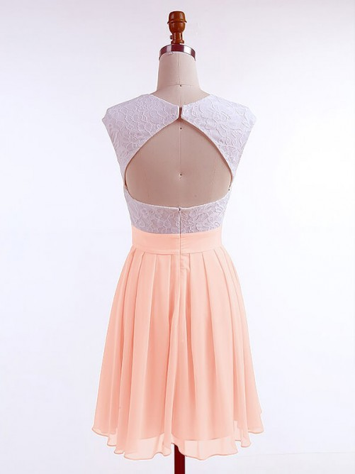 A-Line/Princess Jewel Sleeveless Lace Short/Mini Chiffon Dresses