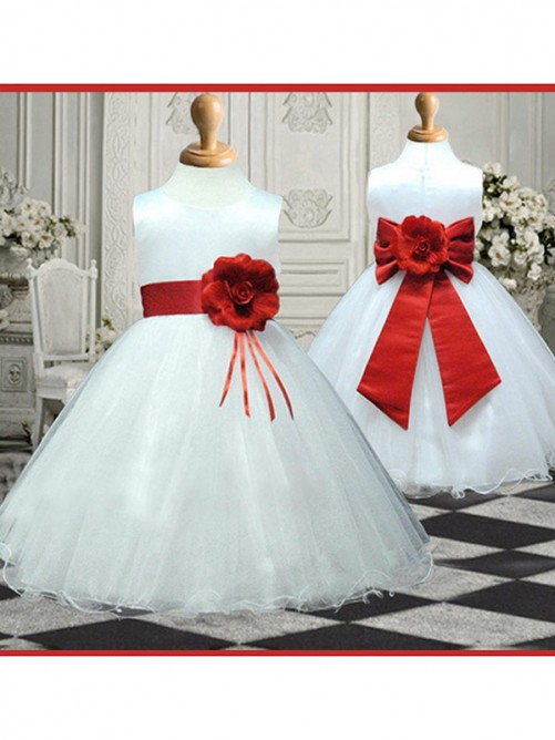 A-line/Princess Scoop Sleeveless Ankle-length Organza Flower Girl Dress With Hand-made Flower