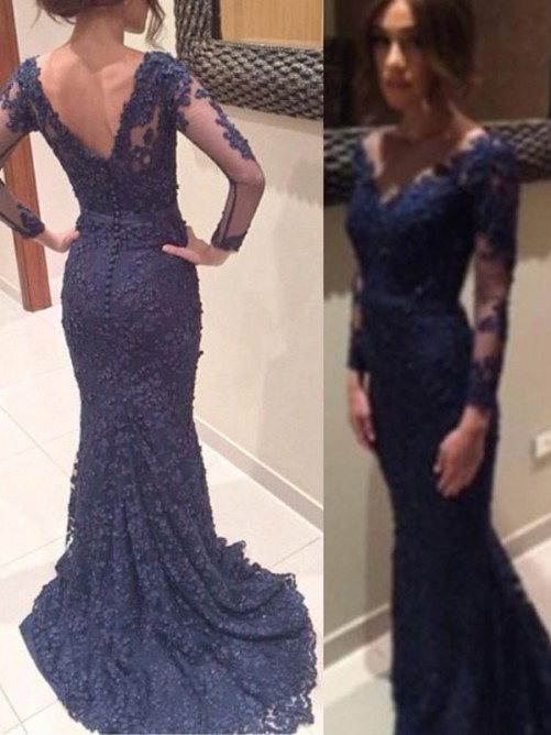 Trumpet/Mermaid Applique Sweep/Brush V-neck Long Sleeves Train Lace Prom Dresses