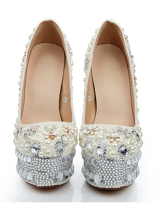 Patent Leather Glass Drill Pearls High Heels