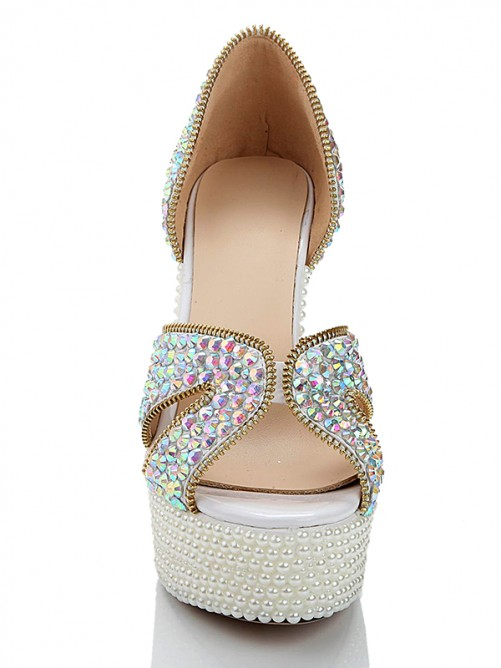 Patent Leather Pearls Sandals High Heels