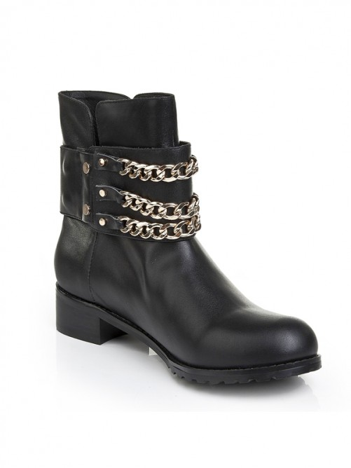 Black Leather Iron Chain Boots S5LSDN1199LF