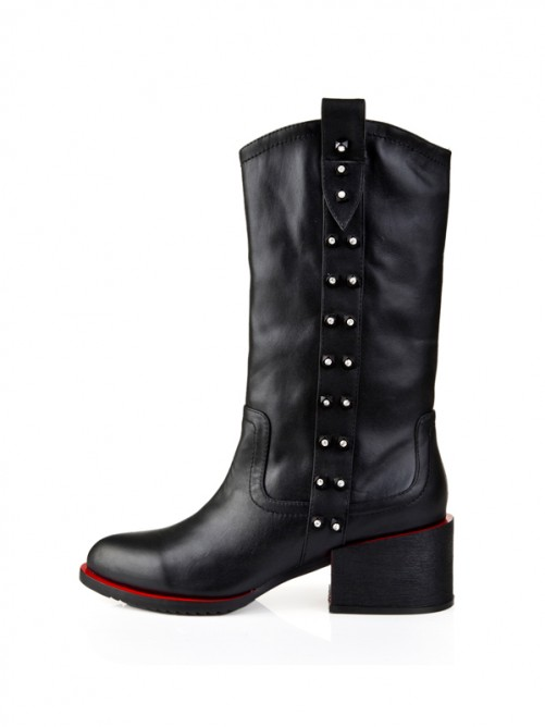 Boots Black Thick Heel Leather