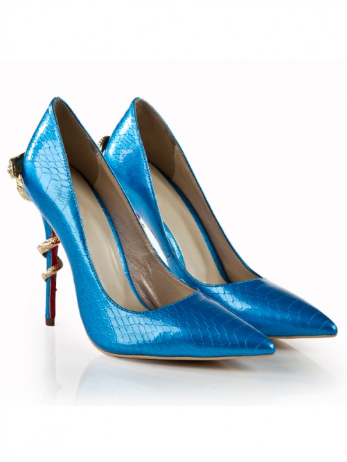 Blue Snake Print Patent Leather Pointed Toe High Heels