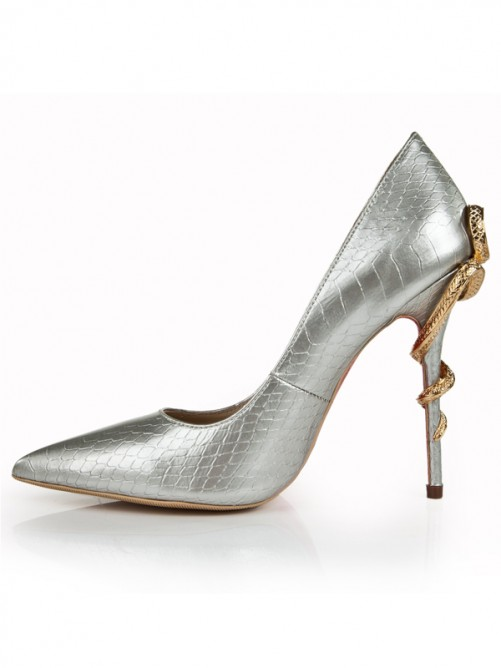 Silver Snake Print Patent Leather Pointed Toe High Heels