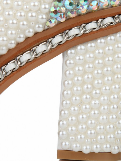 Thick Heel Patent Leather Pearls Boots