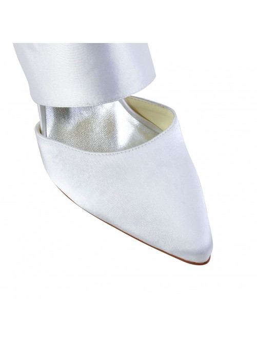 Satin Stiletto Heel Closed Toe Shoes With Buckle