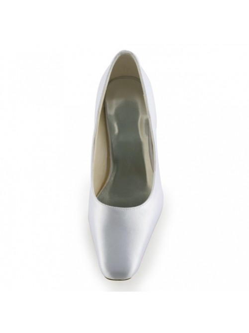 Cheap Satin Upper Chunky Heel Pointed Toe Wedding Shoes